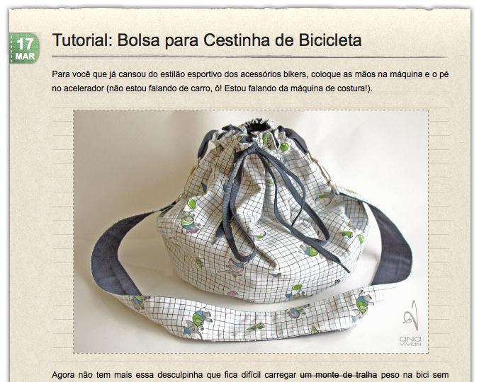 Tutorial: Bolsa para Cestinha de Bicicleta