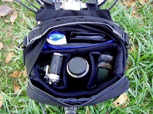 Refil instalado no interior da bolsa