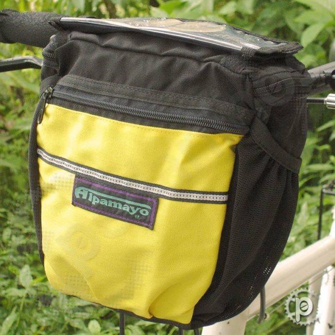 Bolsa de Guidão Preta com detalhes em Amarelo