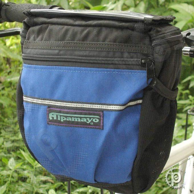 Bolsa de Guidão Preta com detalhes em Azul