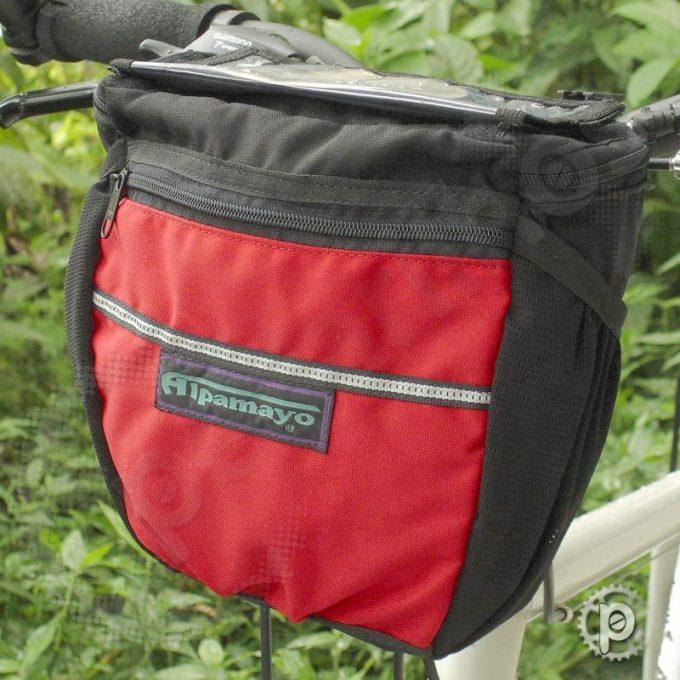 Bolsa de Guidão Preta com detalhes em Vermelho
