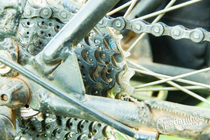 Detalhe do K7 da bicicleta do André