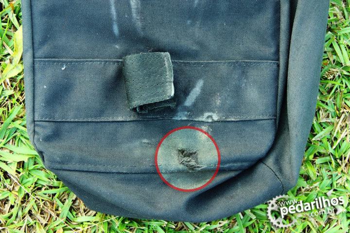 Desgaste causado pela blocagem da bike, devido a fixação ao nosso bagageiro modificado.