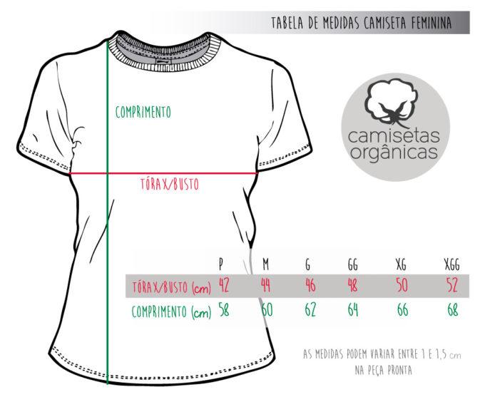 Tabela de Medidas Camiseta Feminina