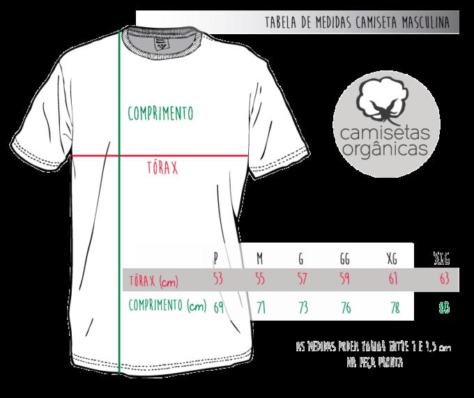 Tabela de Medidas Camiseta Masculina