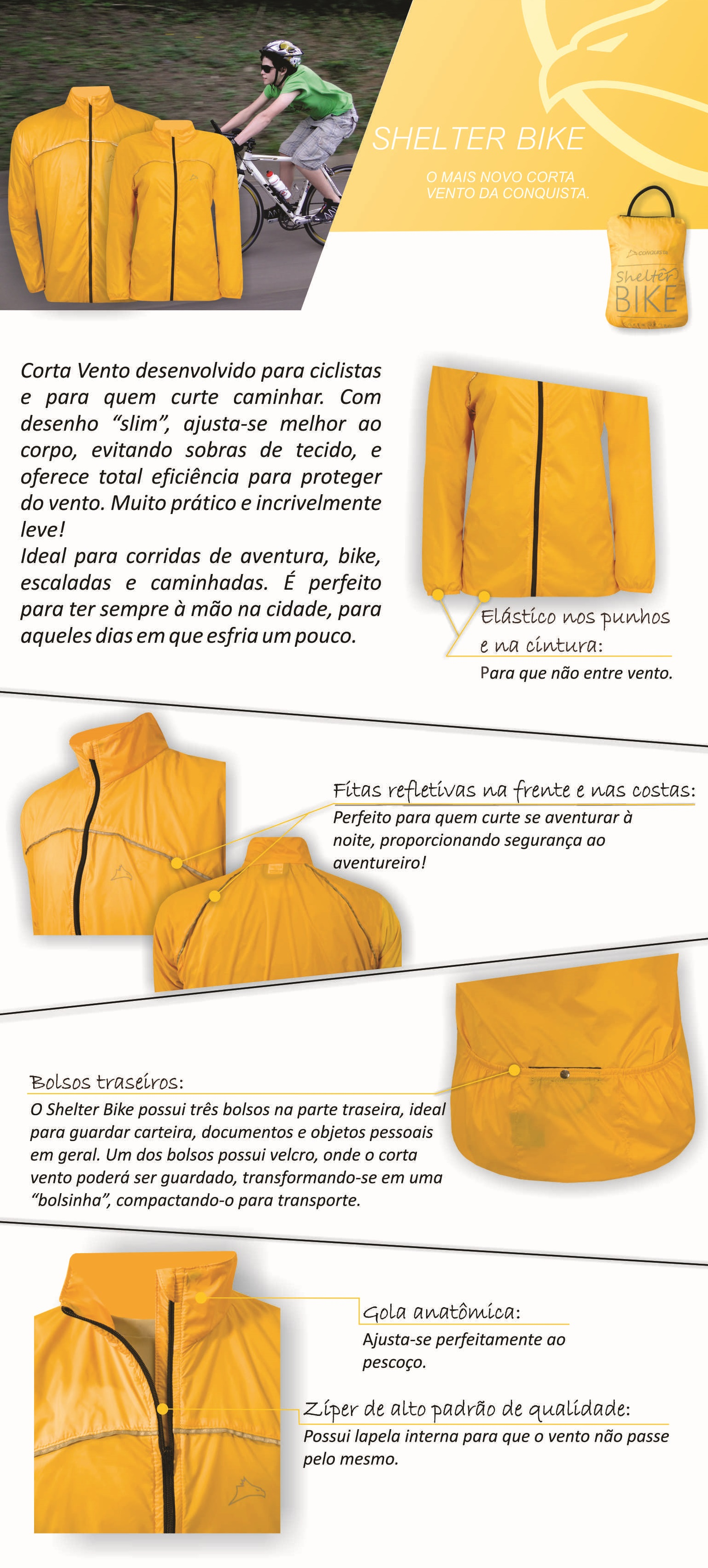 Informações Corta Vento Shelter Bike