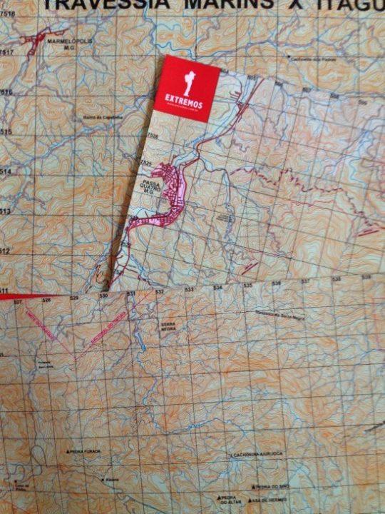 Mapas que imprimimos para fazer a travessia da Transmantiqueira.