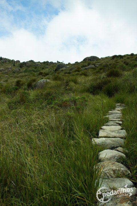 Trilha em pedra no Parque Nacional de Itatiaia
