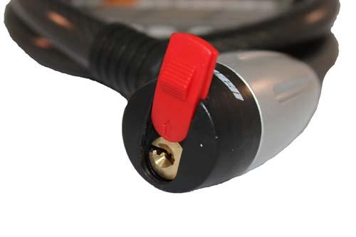 Cadeado de cabo de aço reforçado para bicicleta com chave.