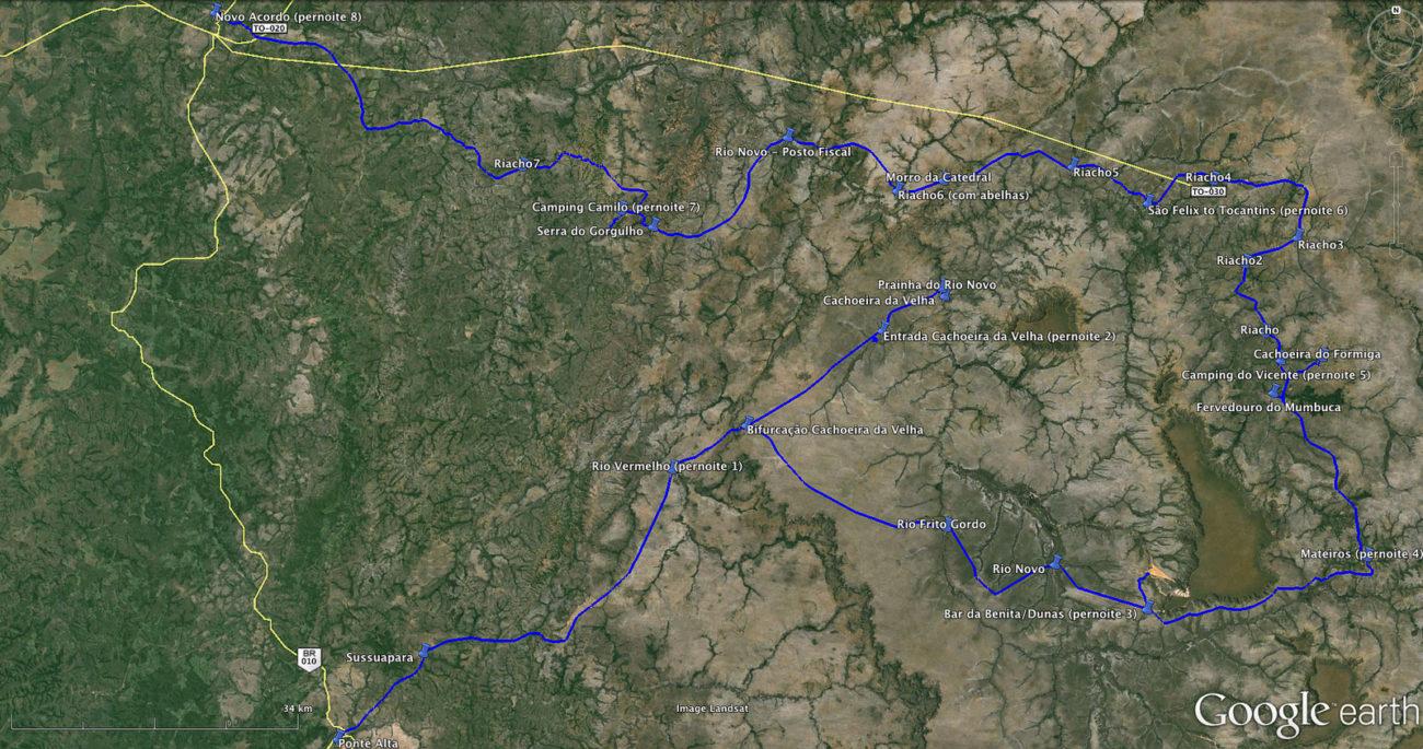 Mapa Jalapão de bike.